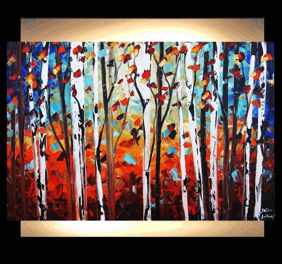 the burnt  forest  original jolinas one of a kind impasto painting from  jolina anthony gallery back wrap stretched canvas