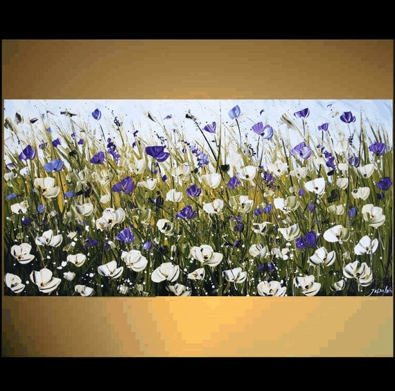 """48"""" original wilde white,violet  textured poppis from listed artist jolina anthony gallery back wrap stretched canvas"""