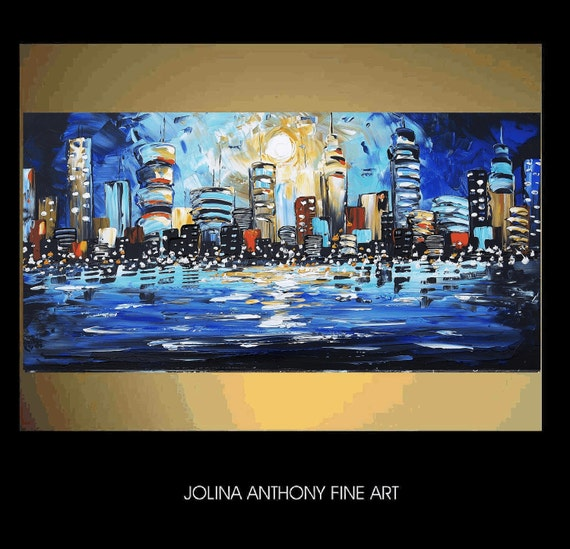 """xxl 48"""" City large  abstract textured city painting from listet artist  Jolina Anthony express shipping worldwide"""
