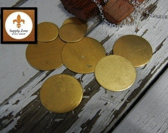 "24g BRASS - 1"" Round Brass Discs -  Pack of 6 - Metal Blank for Hand Stamping - DIY Craft Supply"
