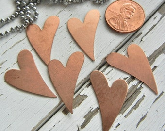 "SMALL  COPPER Funky Heart - 1"" x 5/8""  24 gauge -  Pack of SIX - Metal Stamping Blank -  Hand Stamped Jewelry Making Supply"