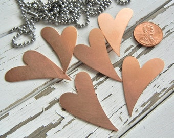 """Hand Stamping Blank -  Medium Copper Funky Heart 1 - 1/2"""" x 1"""" -  24 gauge - Pack of SIX"""