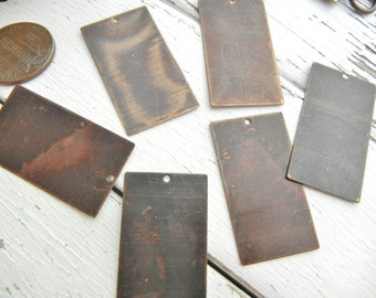 Vintaj BRASS 18 x 32mm Altered Blank Rectangle - Pack of 6 - Metal Stamping Blank for Hand Stamped Jewelry