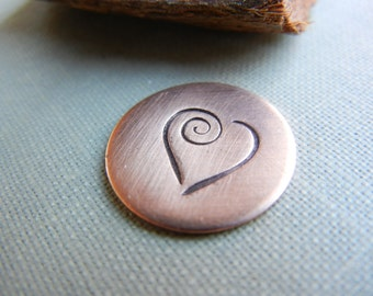 Extra Large Design Stamp - 10mm Heart with Swirl -  Metal Design Stamp for Hand Stamped Jewlelry - DIY Metal Stamping Tool