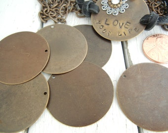 Vintaj 34mm Altered Circle Blank - Pack of 6 - Natural Brass - Metal Stamping DIY Jewelry Supply - Hand Stamping Blank