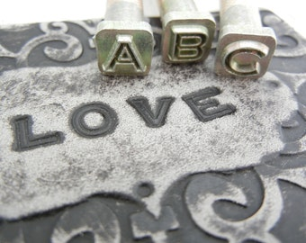 Leather Stamping Set - 1/4 inch Leather Alphabet Stamp Set with Open Face Design.  For Leather Only.