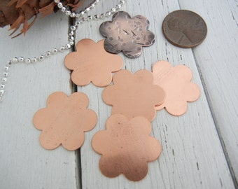 """COPPER Flower Stamping Blank 7/8""""  - 24 gauge - 6 Pack - Metal Stamping Blank for Hand Stamped Jewelry Making - 6 Petal Smaller Version"""