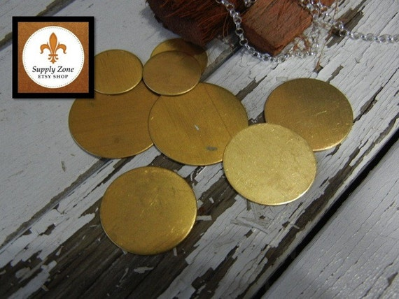 """24g BRASS - 1"""" Round Brass Discs -  Pack of 6 - Metal Blank for Hand Stamping - DIY Craft Supply"""