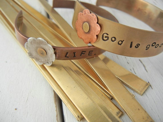 """6"""" x 1/4"""" BRASS 16g Bracelet Blanks -10 Pack - Brass Bracelet Blank for Hand Stamped Cuff - Personalized Metal Cuff Blank - Jewelry Stamping"""