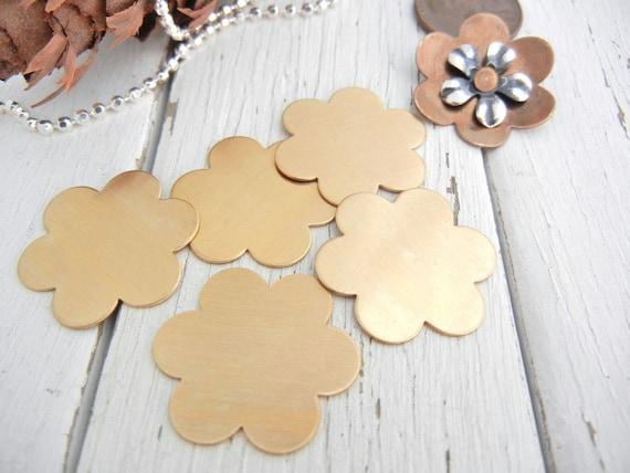 "6 Petal  BRASS Flower Blank - 7/8""  - 24 gauge - You Get SIX Blanks - Hand Stamping Supply - Metal Stamping - DIY Jewelry Supply"