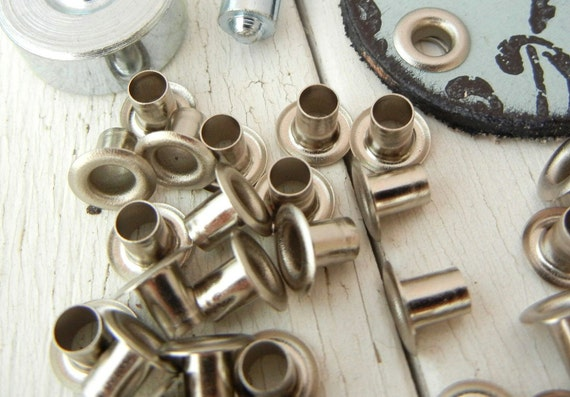 """3/16"""" Nickel Plated Eyelets - Perfect for Leather and Metal Crafts - 100 Pack - Setter and Leather sold separately - Jewelry Making Supply"""
