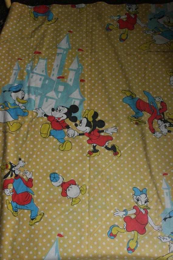Vintage Mickey Mouse Walt Disney World Twin Sheet Bedding