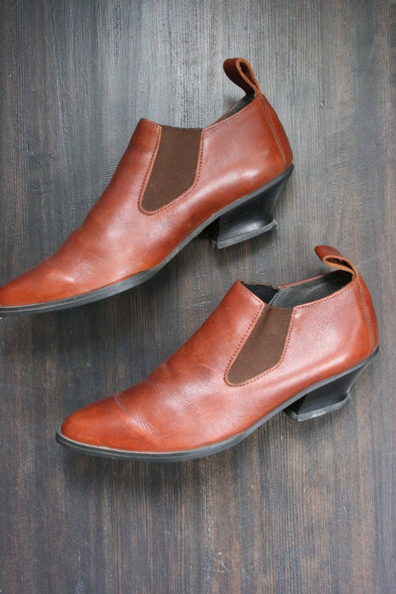 Vintage Leather Boots 8 Ankle Carmel Colored 1990s