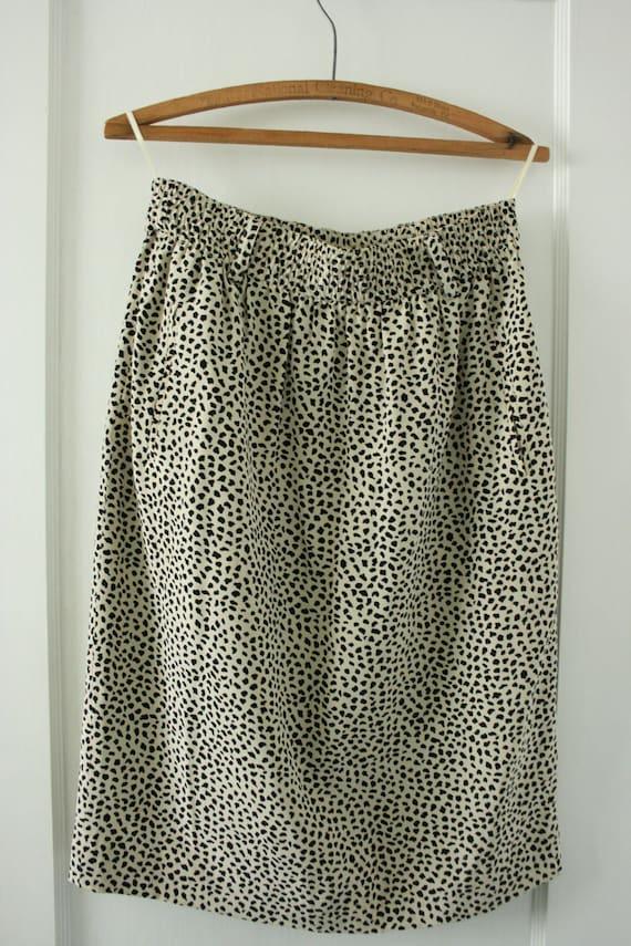 Vintage Leopard Print Silk Skirt