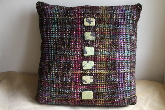 Throw Pillow Plaid Yellow Turquoise Black By
