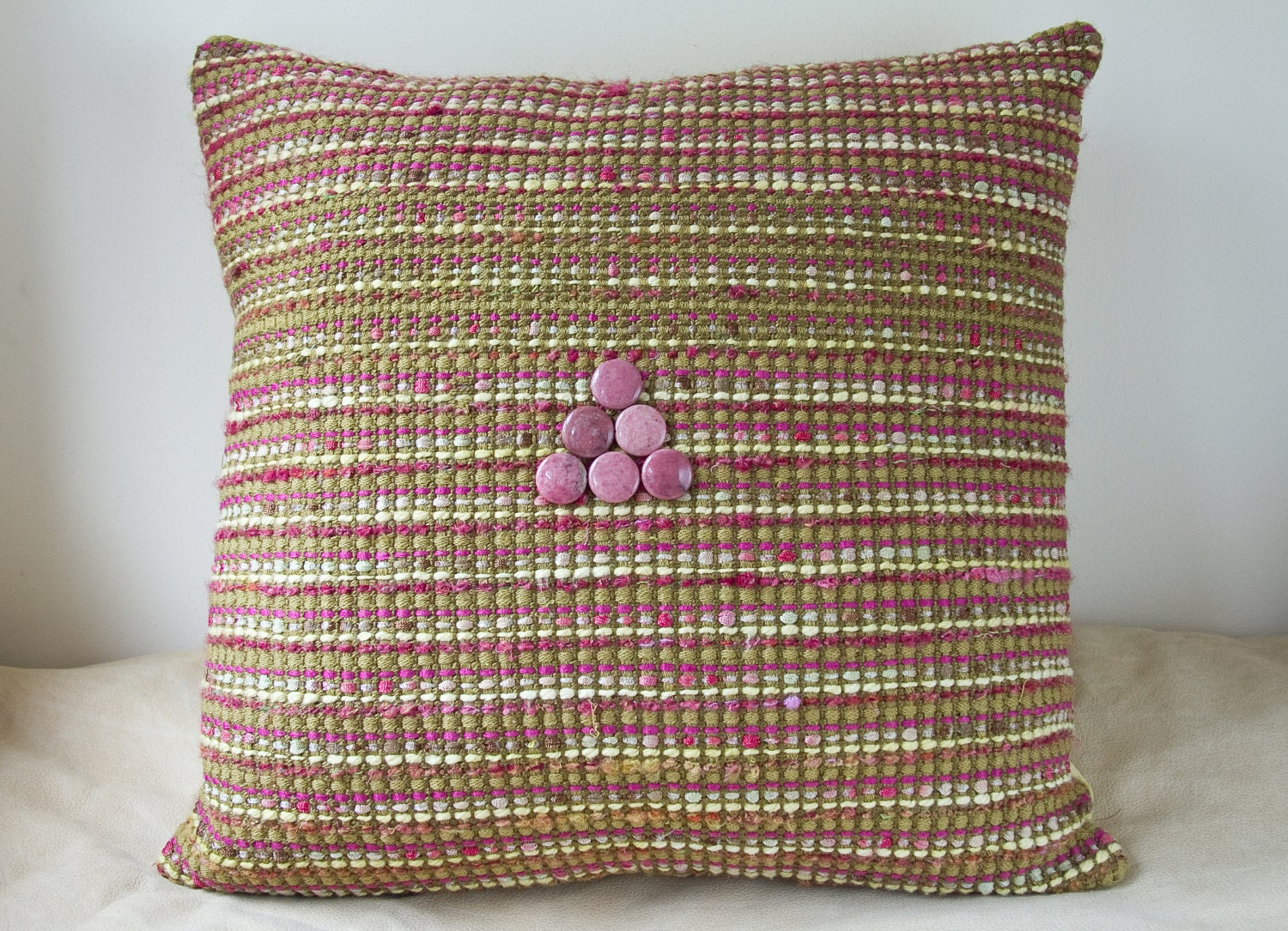 SPRING FLING Decorative pillow green pink beads throw spring