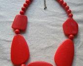 Vintage Funky Red Necklace Unique Fun Shapes