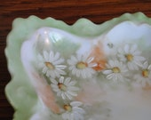 Daisy Handpainted China Dish with Gold Painted handle