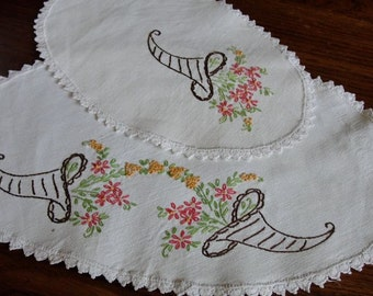 Pair of Hand Embroidered Dresser Scarves