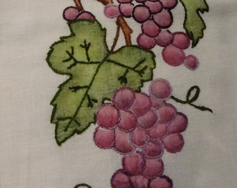 Feed Sack Towel with Painted and Hand Embroidered Grapes