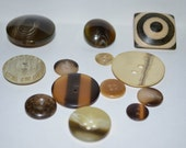 Wood and Neutral - (13) Vintage Buttons