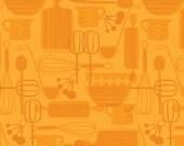 """Kitchy Kitchen by Maude Asbury """" Kitchen Utensils Orange """" for Blend Fabrics- 1 yard"""