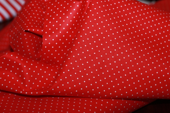 Basic Bright Red and White Dots Fabric-1 Fabric Yard
