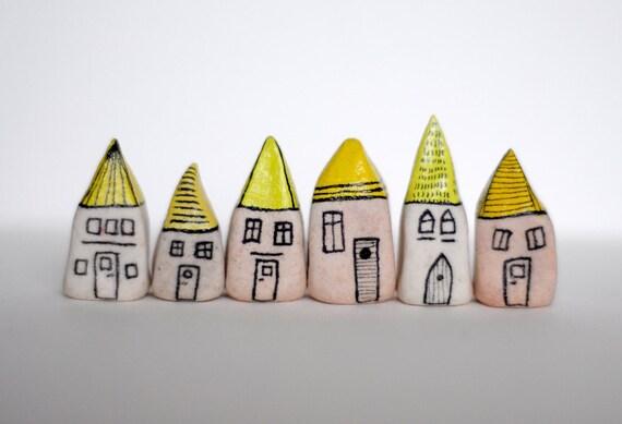Mustard yellow miniature houses