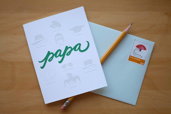 papa letterpress greeting card (father's day) hat design