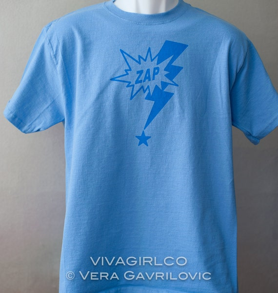 ZAP - Lightning Bolt Star Blue Hand Screen Printed TShirt