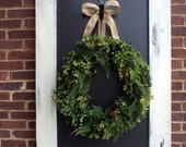 Burlap Boxwood And Fern Wreath