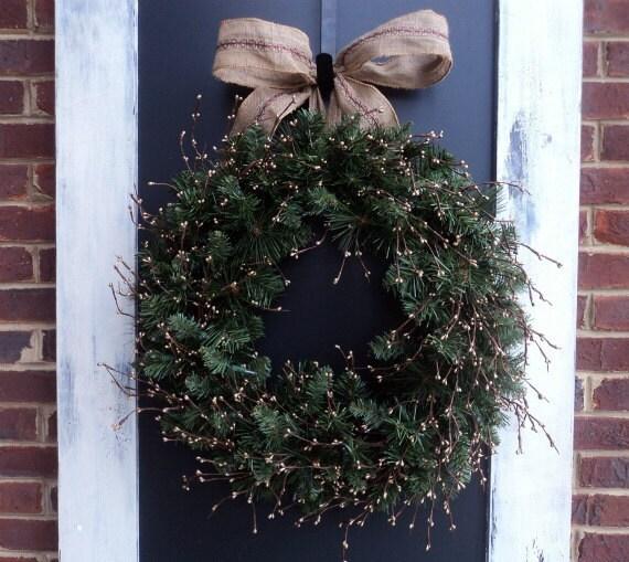SALE-Christmas Berry And Burlap Wreath
