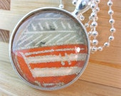Vintage kimono fabric silver and glass pendant perfect Mother's day gift