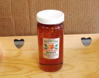 Pure Unprocessed Unfiltered Raw Orange Blossom Honey with a Comb 12 oz..