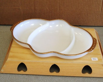 Vintage Fire King Oven Ware Milk Glass  Divided Tray Platter