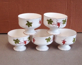 Vintage ROYAL VICTORIA Fine Bone China Footed Desert Cups.