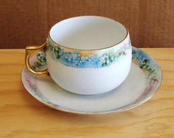 Antique GEO.H.BOWMAN CO. Hand Painted Cup And  Saucer