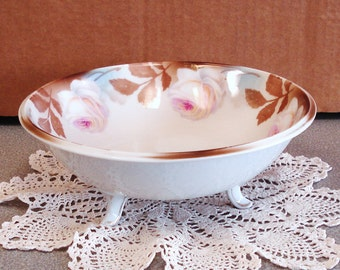 Vintage R And S Germany 3 Footed Porcelain Bowl.