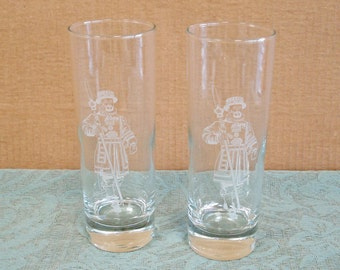 Set of 2 Beverage Tumblers Glasses Etched Glass.