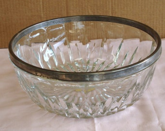 Vintage LEONARD Italy Lead Crystal With Metal Silver Plated Rim Large Bowl.