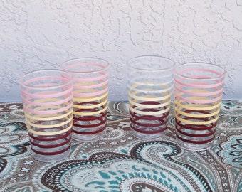 Set of 4 Beverage Tumblers Glasses.