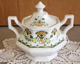Johnson Brothers GREENFIELD Pattern Ironstone Sugar Dish Bowl.