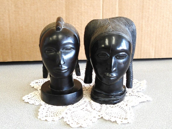 Vintage Hand Carved Genuine BLACK IRON WOOD Statue Heads African Art.