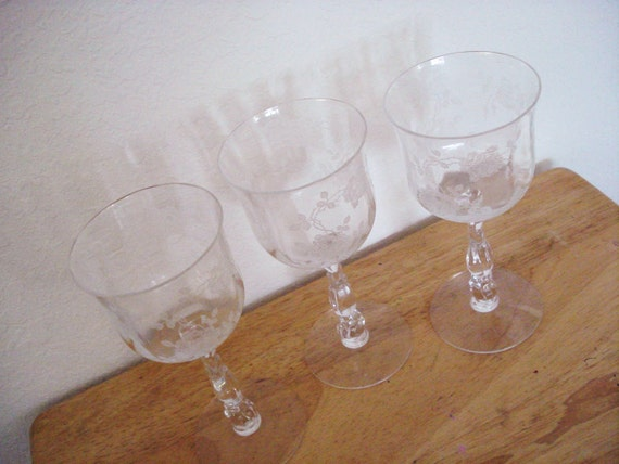 Vintage Etched Clear Lead Crystal Wine Glasses A Set Of 3.