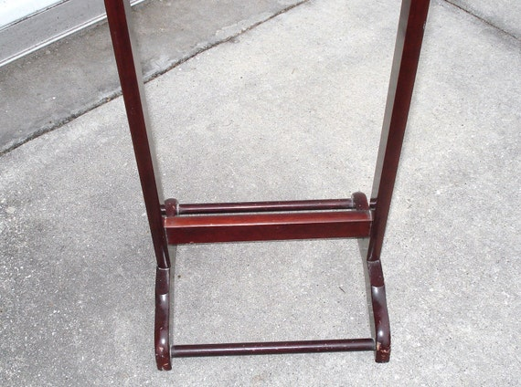 vintage wooden clothes valet stand suit rack cloth by