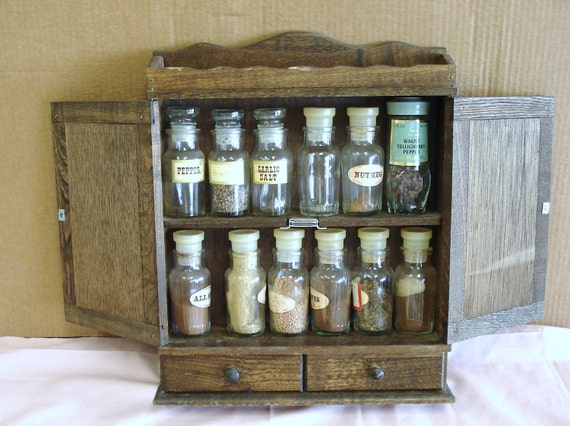 Vintage Wooden Country Style Wall Mount Spice Rack By
