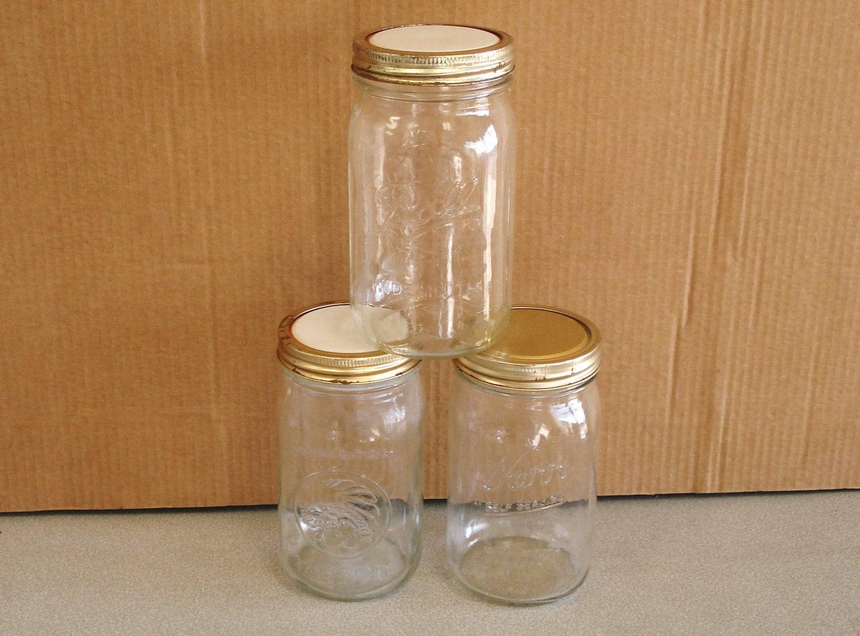 mason wide mouth 3 glass jars 1 quart ball kerr golden harvest. Black Bedroom Furniture Sets. Home Design Ideas