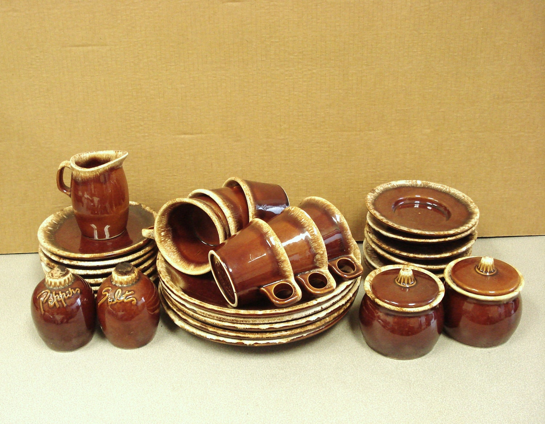 Vintage Hull Brown Drip Crestone Pottery Dinnerware By