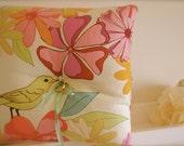 Wedding ring pillow, linen, rustic, romantic, mint silk,