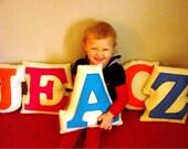 Children Decor Personalized Monogram Letter Pillow of Peacock Blue Eco Friendly Appliqued Felt - A is for Apple